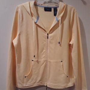 Yellow Knit Zip Hoodie
